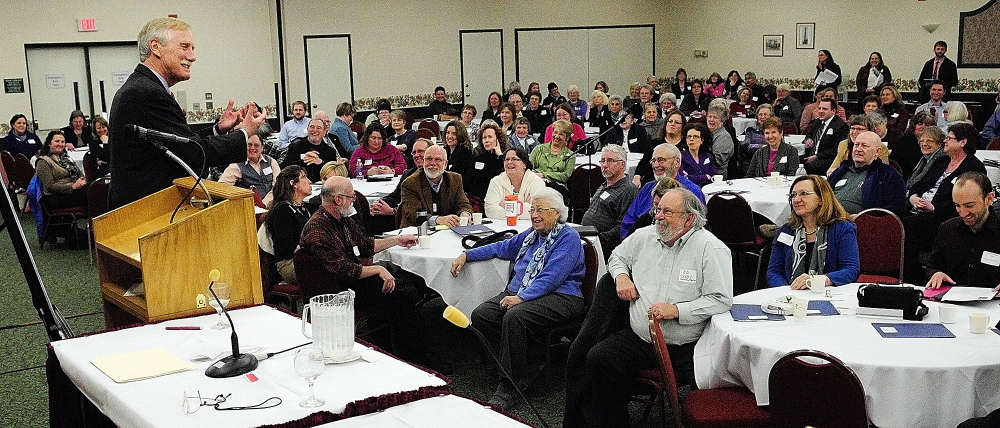 Sen. Angus King, I-Maine, speaks at the Maine Summit on Aging on Jan. 17 in Augusta.