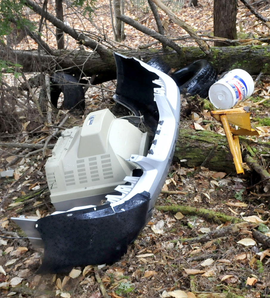 TRASH: A television set, a car bumper and other items were discarded recently off Penney Road in Belgrade.