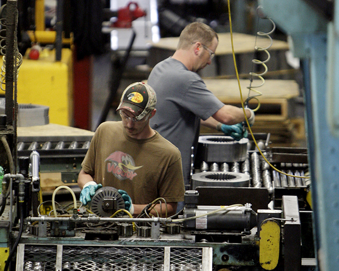 Employees of Baldor Electric Co. work in the company's factory in St. Louis. Many economists believe that GDP will post a sizable rebound in the current April-June quarter and will remain above 3 percent in the second half of the year as the economy gets a boost from increased consumer demand, bolstered by stronger hiring.