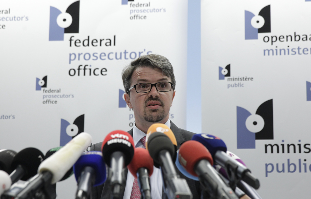 Belgian federal prosecutor Frederic Van Leeuw addresses the media at the Federal Prosecutor's office in Brussels on Sunday. Prosecutors say that a Frenchman arrested over killings at a Belgian Jewish museum had traveled to Syria and claimed responsibility for the shootings in a video.