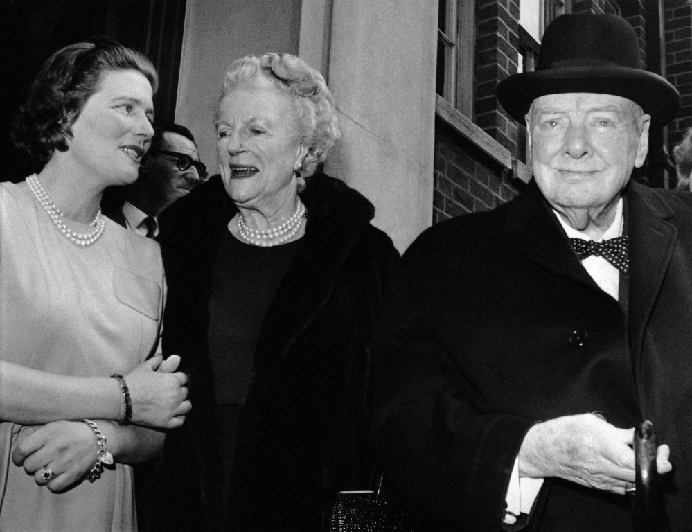 In this April 1963 photo, Sir Winston and Lady Clementine Churchill, take their leave of their daughter Mary, wife of Agriculture Minister Christopher Soames, after a family luncheon party to celebrate Lady Churchill's 78th birthday at Tufton Court, London. Mary Soames, the last surviving child of British leader Winston Churchill, has died. She was 91.
