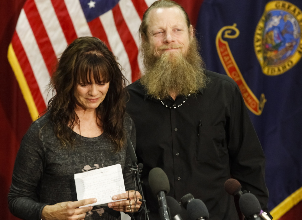 Jani and Bob Bergdahl, parents of Army Sgt. Bowe Bergdahl, speak to the media in Boise, Idaho, on Sunday. Bob Bergdahl says he's proud of how far his son was willing to go to help the Afghan people.