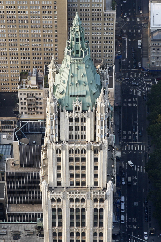 In addition to a penthouse apartment in the pinnacle of the Woolworth Building, developers are planning 33 other luxury apartments in the upper floorss with prices rivaling those at Midtown skyscrapers fringing Central Park. The landmark building is shown in a 2010 aerial photo.
