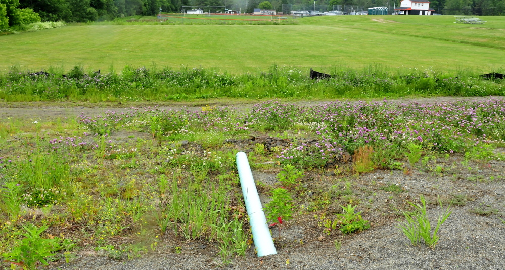 The football field behind the Skowhegan Community Center was built by the National Guard but in the wrong area because of incorrect information provided by the town.