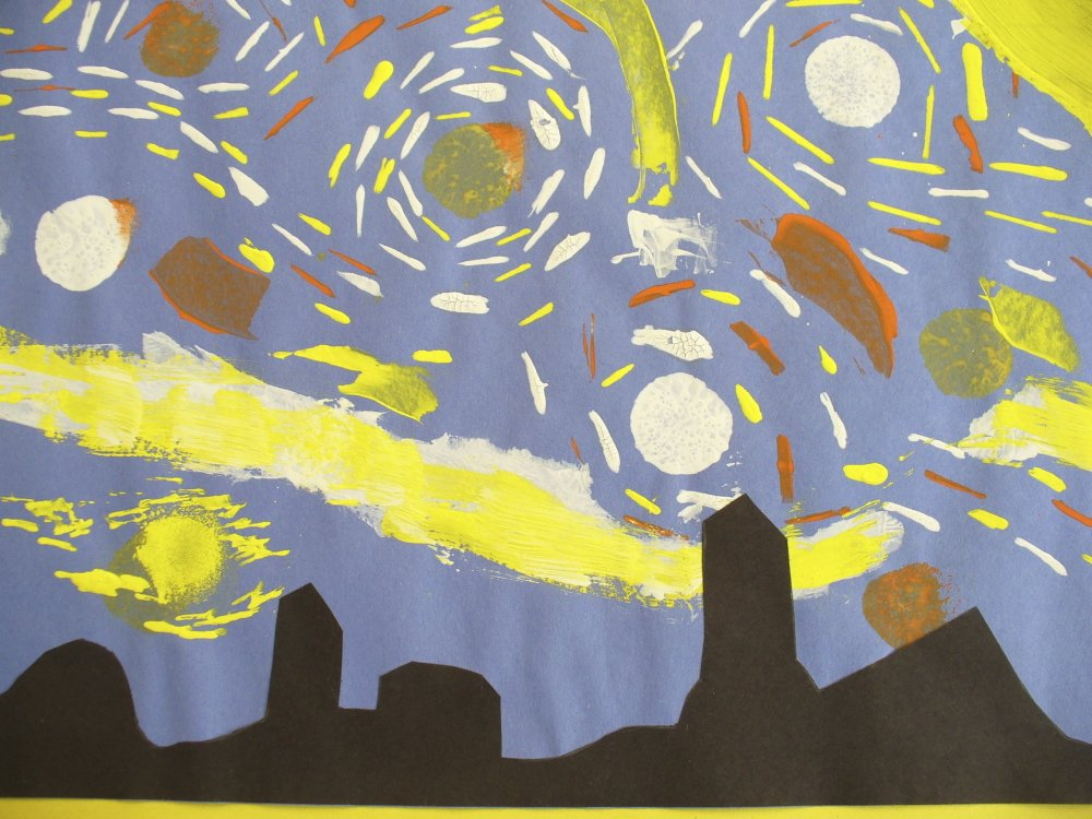 "Students at Readfield Elementary School recently painted a recycling bullet with a design of Vincent Van Gogh's ""Starry Night."" The school submitted the winning design to a contest offered by EcoMaine, Recycling is A Work of Art. The school was given a $500 grant to use for paint supplies. The project was coordinated by Readfield art teacher Betsy Allen McPhedran. Every child in the school had a hand in painting the silver recycling bullet — gifted and talented students Rose Jenkins, Addie Watson, Sophia Tweedie, and Sonjia Hirsch were able to put in extra time on the project. Finishing touches were added by Readfield literacy teacher and fiber artist Jennifer Shaw."