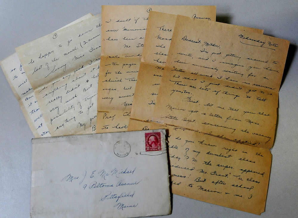 An envelope that contained nine pages of letters written and mailed in 1931 by Miriam McMichael Robinson.