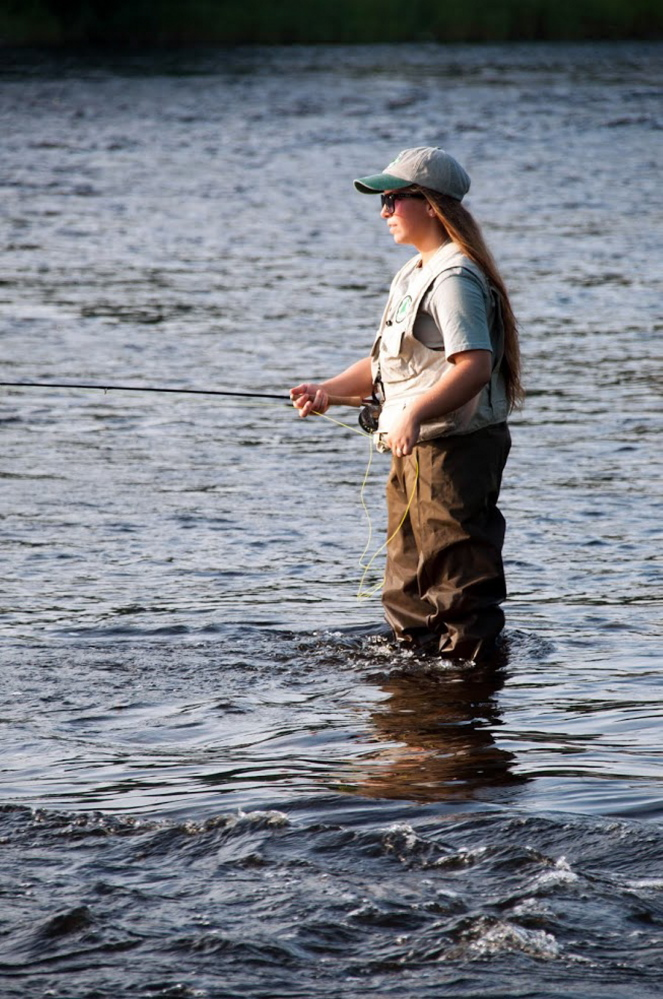 Emily McLean, a softball and field hockey player at Lawrence High School, has grown up around fishing most of her life. But she had the opportunity to learn fly fishing at the Maine Trout Unlimited Trout Camp last week at Evergreens Campground in Solon.