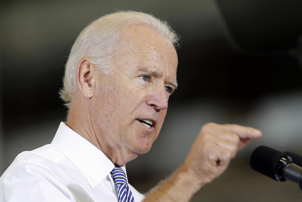 Vice President Joe Biden speaks about the killing of Steven Sotloff while visiting the Portsmouth Naval Shipyard in Portsmouth, N.H. Wednesday, Sept. 3, 2014. Biden said America will follow the terrorists who posted videos showing the beheading of two journalists