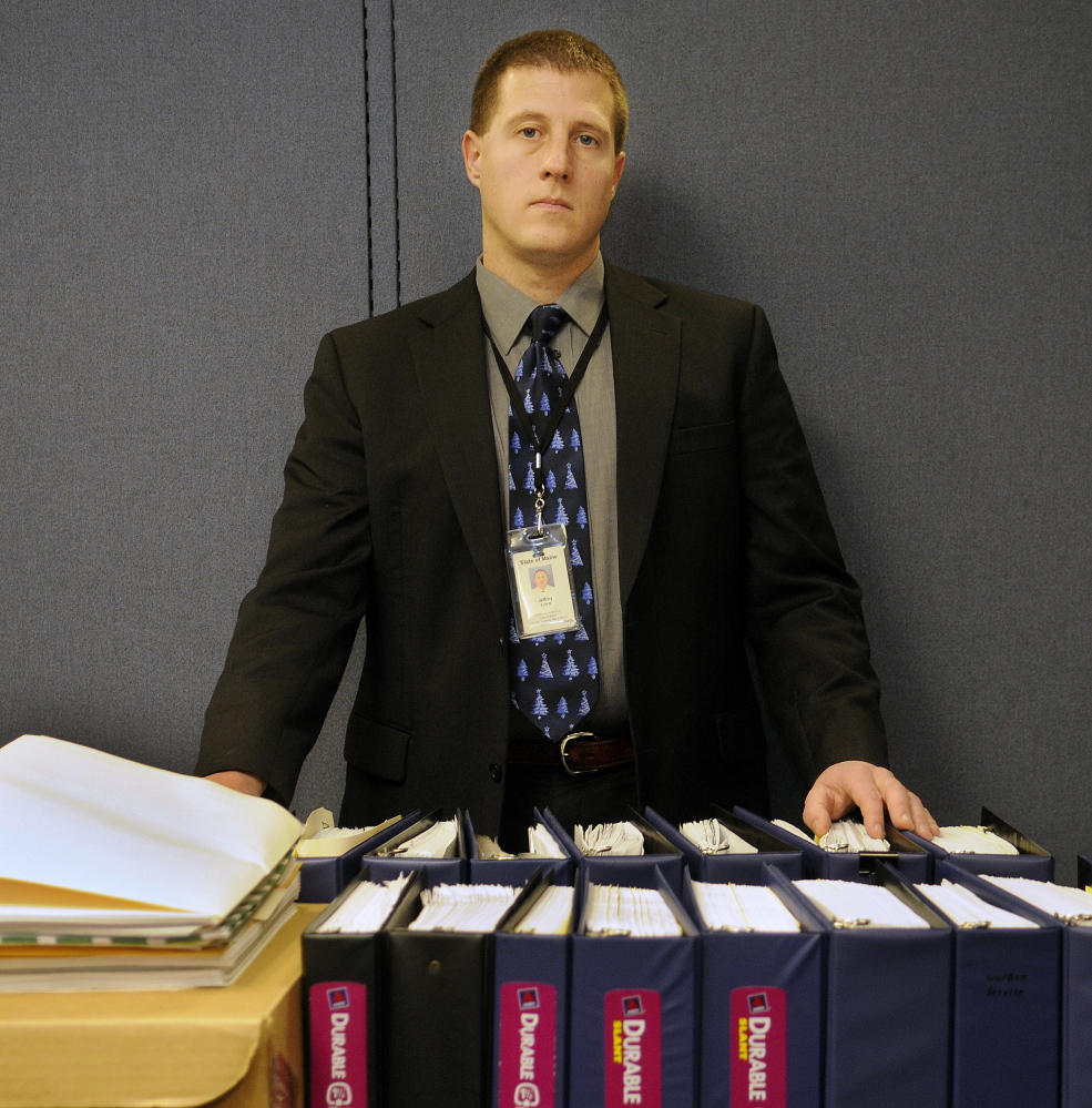 Maine State Police Sgt. Jeff Love, a detective and the lead investigator on the Ayla Reynolds case, seen in his Augusta office with the case files last  week.