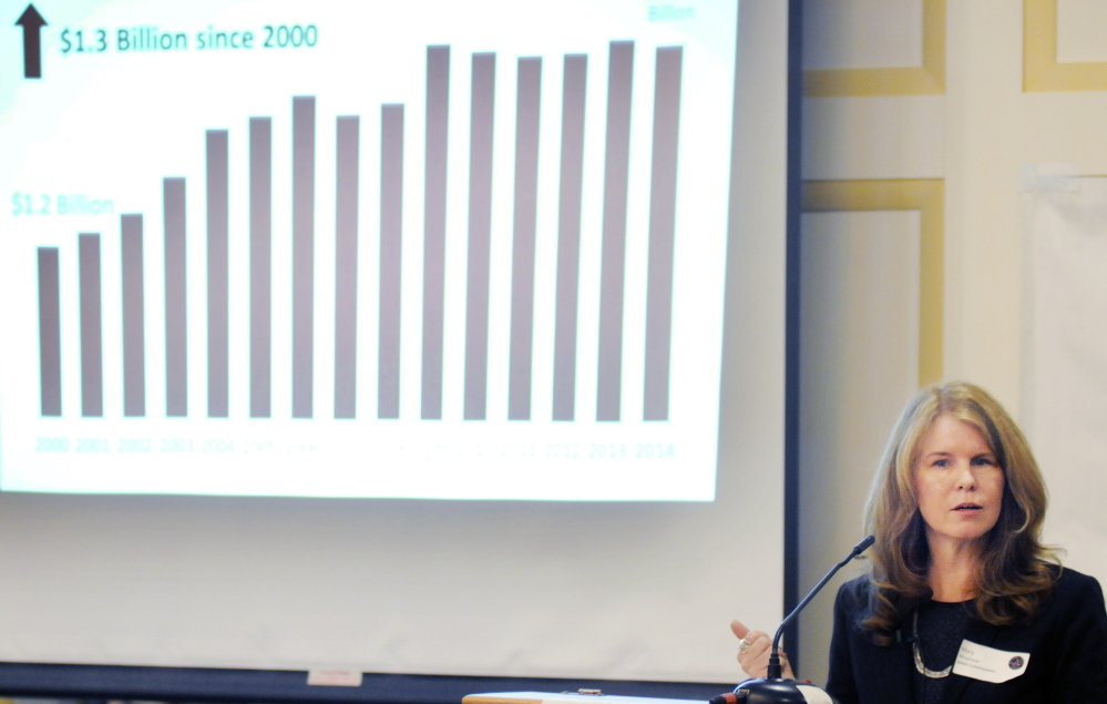 Maine Department of Health and Human Services Commissioner Mary Mayhew speaks Wednesday about state assistance to the poor during a Kennebec Valley Chamber of Commerce breakfast in Augusta.