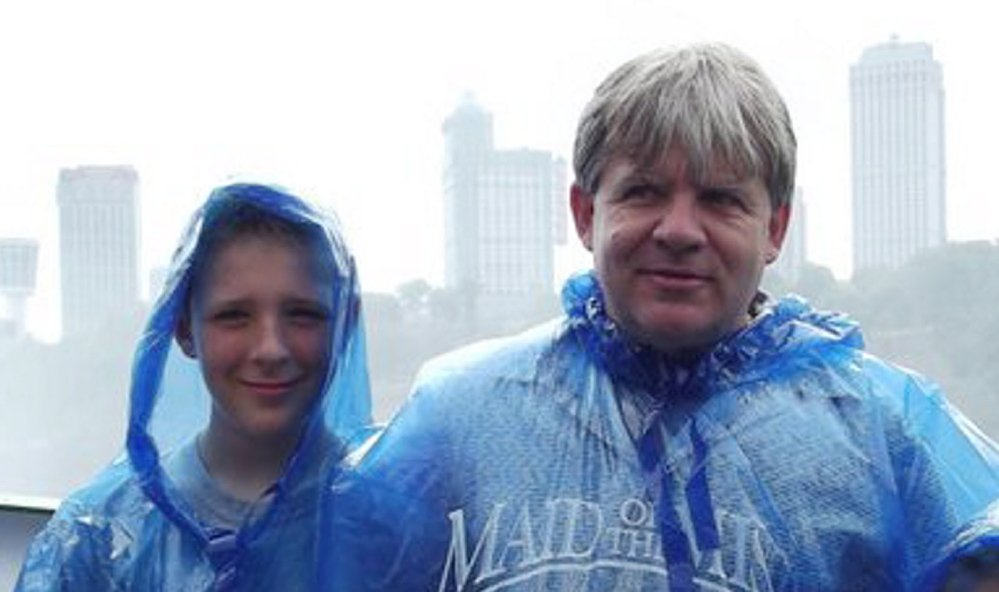 Casey Cloutier, 14, left, and his father Gus Cloutier, 49, center, were killed Tuesday morning in a car accident in Leeds.
