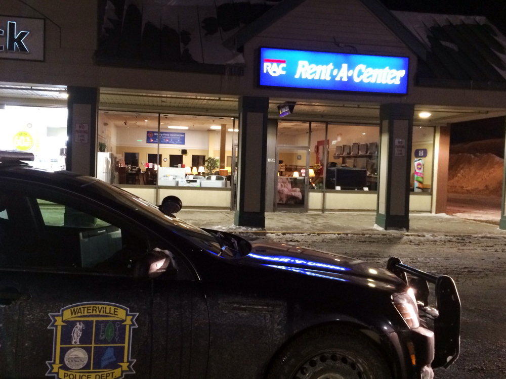 Waterville police responded to the Rent-A-Center store at Elm Plaza off upper Main Street at about 7:30 p.m. Friday after a masked gunman robbed the store manager.