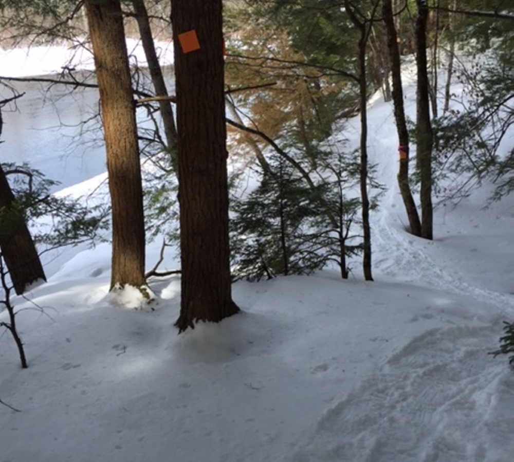 The snowshoe trail along Messalonskee Stream in Waterville's Quarry Road recreation area is a great place to spend a beautiful later winter or early spring day.