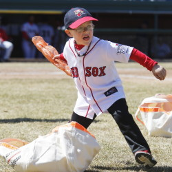 Baseball is back and so is the between-innings fun, which Derrik Trybus, 5, of Norway got to take part in Sunday during the Sea Dogs' loss to the Fightin Phils in Portland.