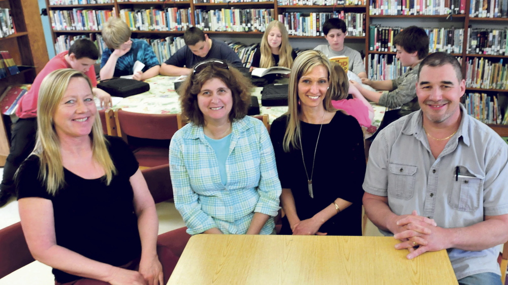 Athens Community School teachers, seen Thursday, have formed a steering committee to study becoming the second school in the state led by teachers. From left are Tammy Moulton, Cheryl Brown, Amy Bown and David Hatch.