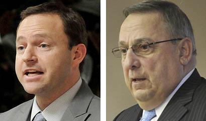 Maine House Speaker Mark Eves, D-North Berwick, left, and Gov. Paul LePage.