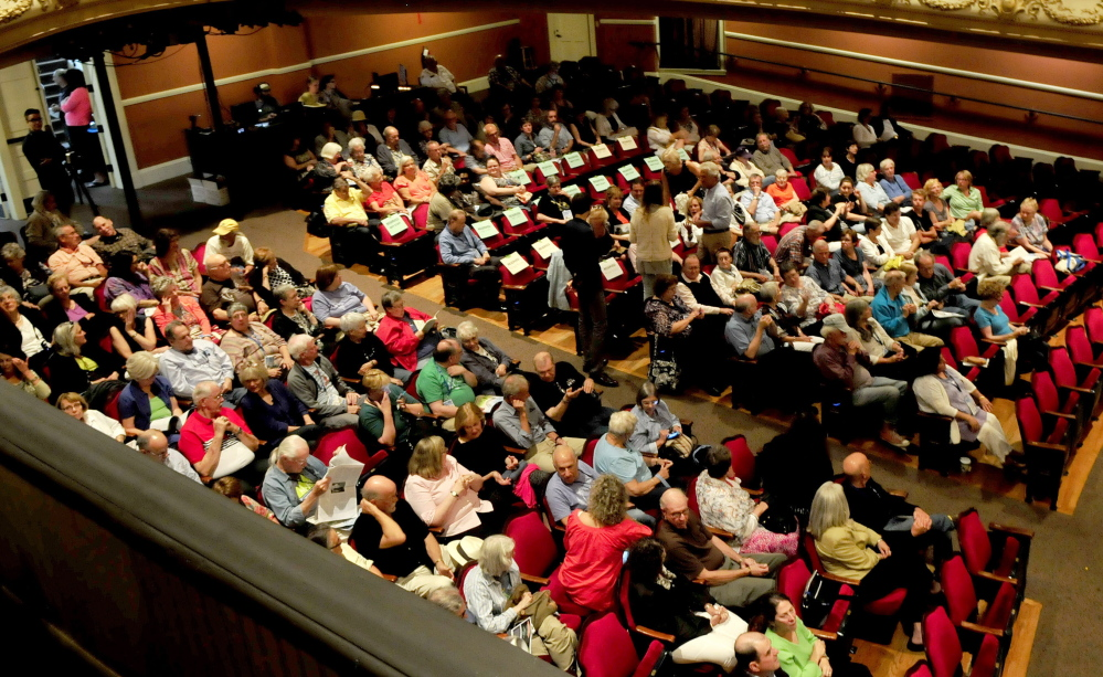 "The Waterville Opera House fills with attendees of the movie ""Fall"" on Thursday prior to actor Michael Murphy receiving the Maine International Film Festival Mid-Life Achievement Award."