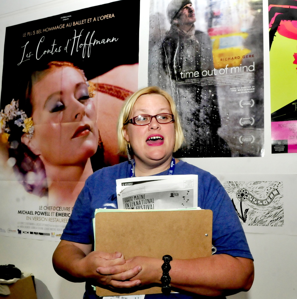 Maine International Film  Festival venue manager Serena Sanborn speaks about this year's event Sunday in the lobby of the Railroad Square Cinema in Waterville.