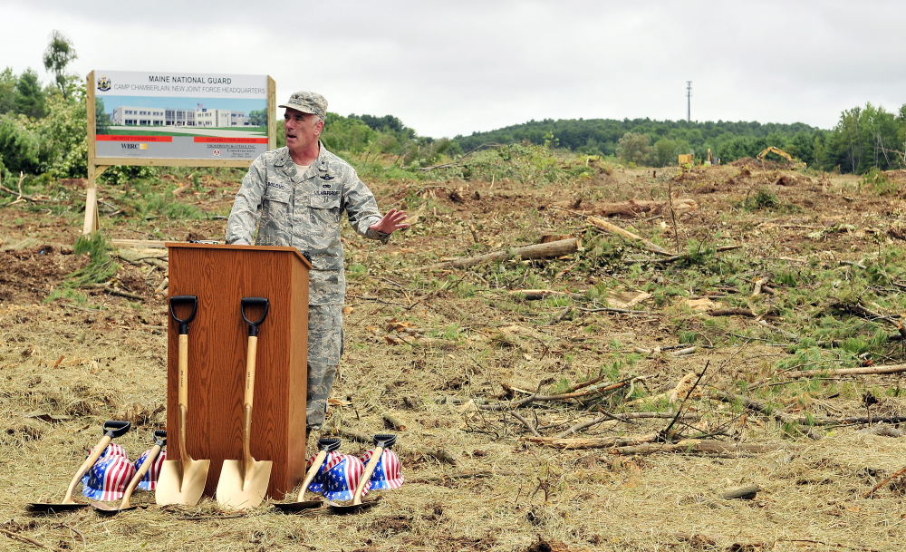 Brig. Gen. Gerard Bolduc, adjutant general of Maine National Guard, speaks during a ceremonial ground breaking for the new headquarters on Thursday in Augusta.