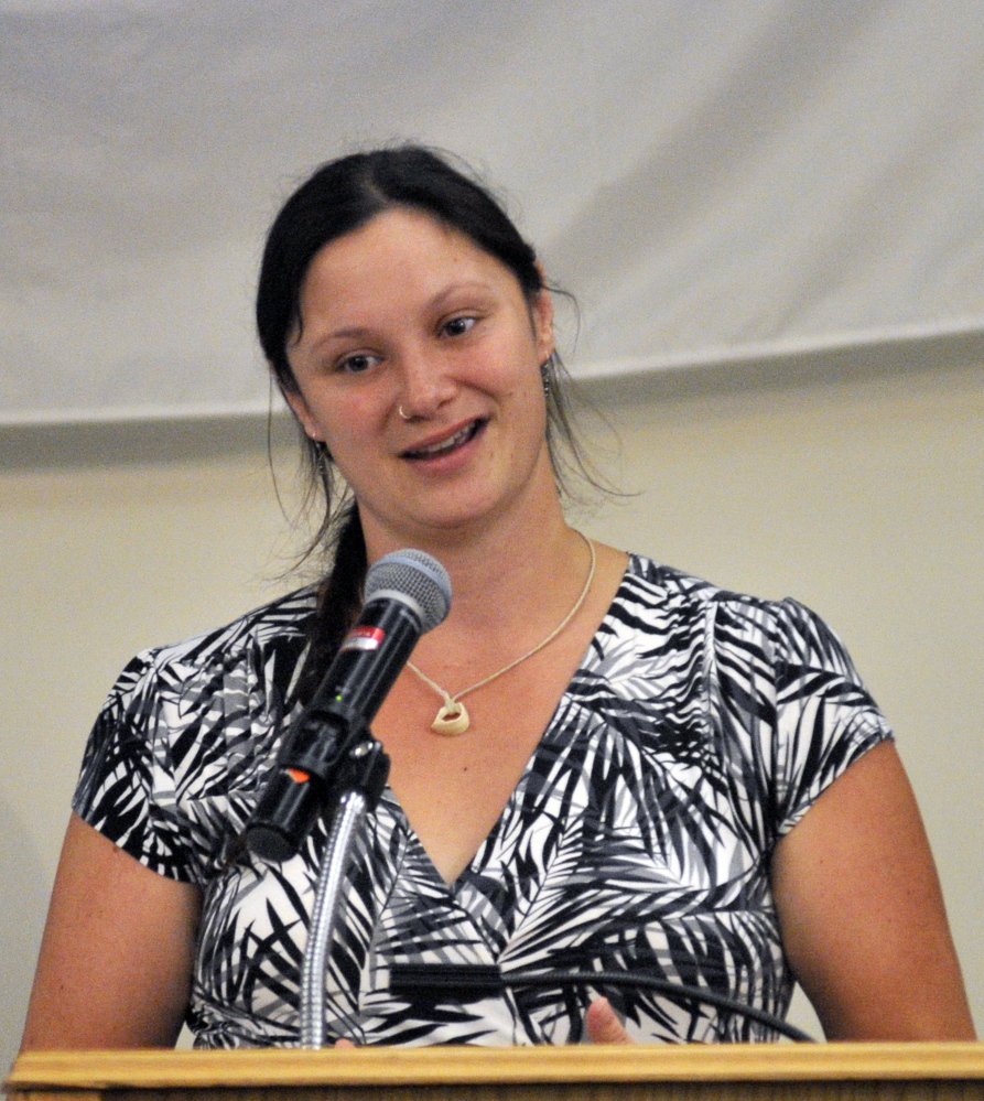 Sarah Gaffney, of Vassalboro, speaks during the United Way of Kennebec Valley kickoff breakfast on Thursday at the Augusta Civic Center. She and her daughter Zoe Gaffney were featured in the annual campaign video about how they were helped by agencies funded by the United Way.