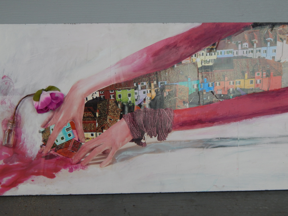 """""""La Vie En Rose"""" by Darbe Anagnost of Augusta, mixed media collage on board"""