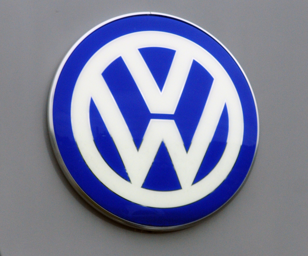The Volkswagen logo appears Tuesday at O'Connor Volkswagen in Augusta. The dealership's general manager, Chris Crowell, said the car manufacturer's stop sale order affects more than half of his inventory.