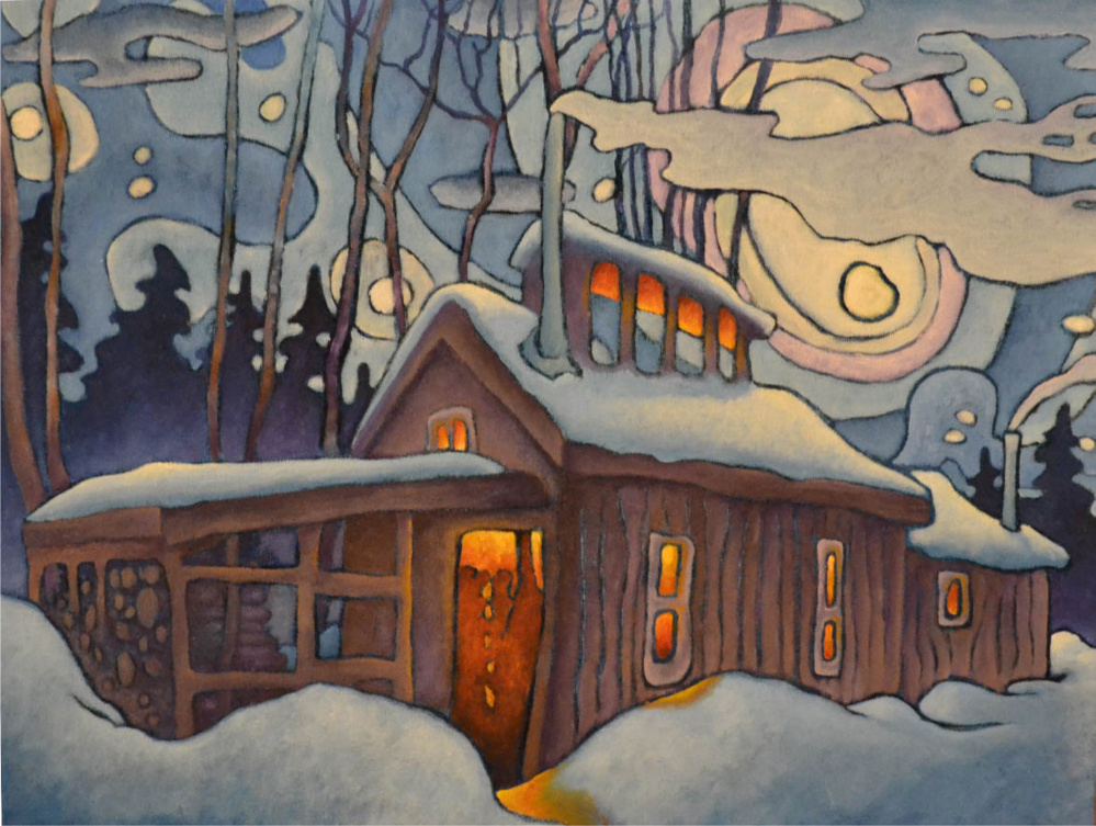 """Aaron McKusick's """"The Sugarhouse"""" is one of the paintings McKusick will display Saturday at the Central Maine Artists Gallery in Skowhegan, one of many stops on the Wesserunsett Arts Council's open studio tour."""