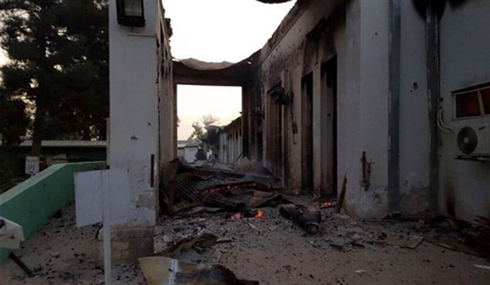 The burnt Doctors Without Borders hospital is seen after an explosion in the northern Afghan city of Kunduz, on Saturday.