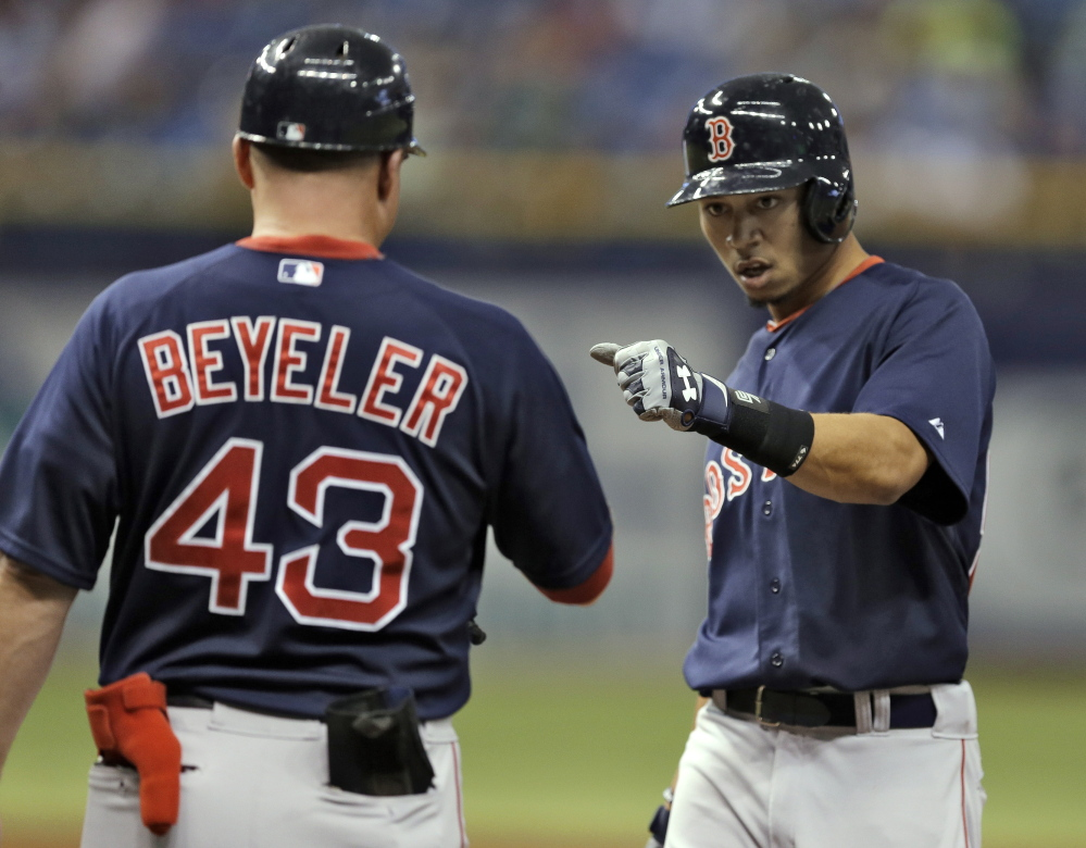 Boston Red Sox's first -base coach Arnie Beyeler will not return next season.