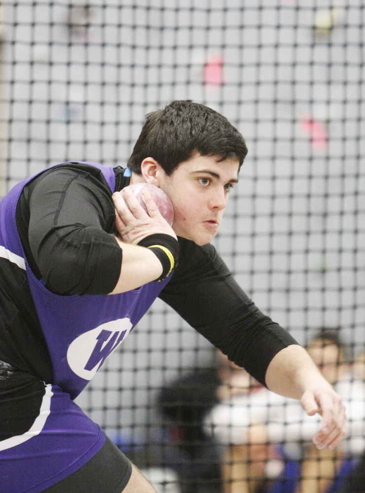 Portland Press Herald photo by Jill Brady   Trever Gray, of Waterville, prepares to throw the shot put during the Class B indoor track and field state championship meet last February at Bates College in Lewiston. Gray will attend the University of Connecticut.