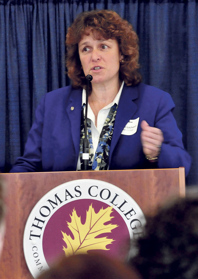 Thomas College President Laurie Lachance speaks about spurring economic development in the Waterville area with student resources and collaboration with Colby College assets during a Business Breakfast series at Thomas College in Waterville on Thursday.