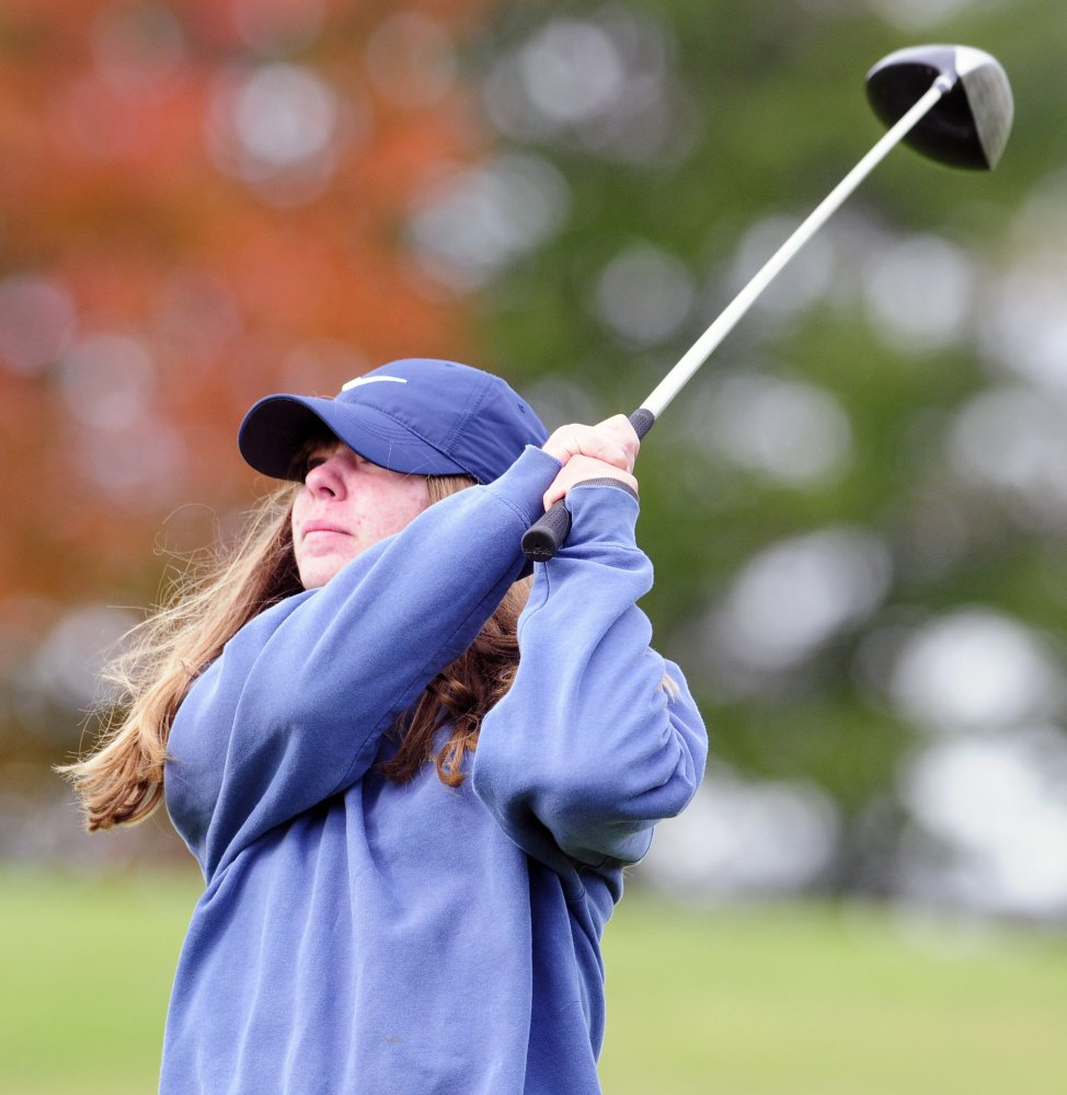 Mount View's Cassidy Gerrish swings away on the Tomahawk course during the state team golf tournament Saturday at Natanis Golf Club in Vassalboro.