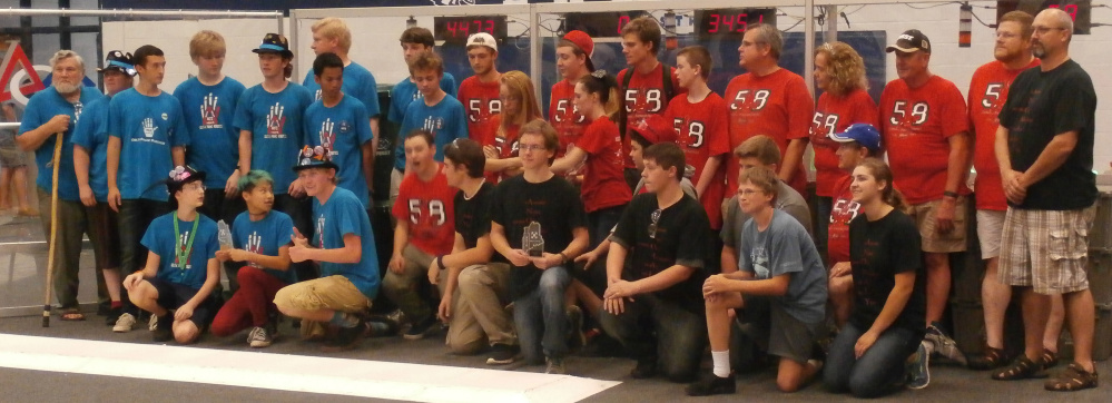 Alliance partners REM Delta Prime Robotics from Hall-Dale High School and Riot Crew from South Portland pose after placing second at Mainely Spirit.
