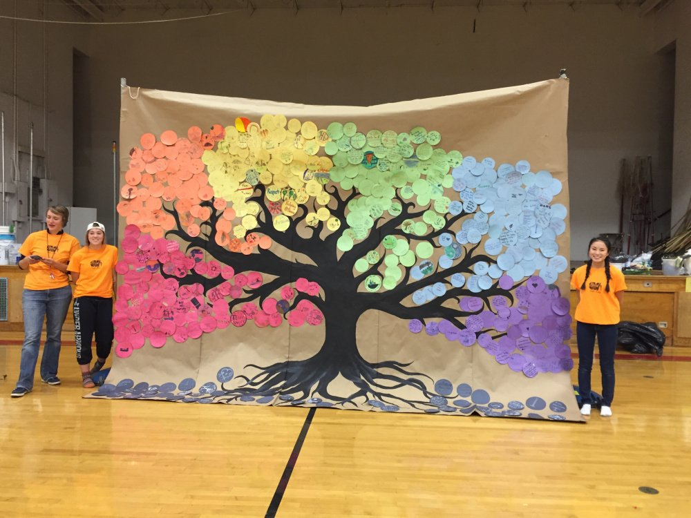 Hall-Dale students in grades preK-12 recently celebrated its Day of Caring. Students Rose Warren, of Hallowell, left, and Addie Davis, of Dresden, hold a mural students in grades 6-12 created mural to visualize the impact of each individual's volunteer contribution. Students in grades 6-12 was tasked with designing a circle (color coded to their grade) that represented their experience. They could write a poem, draw a picture, use words, or create a collage. Warren and Davis designed and created the base image for the mural under the direction of art teacher Jennifer Paisely. Both students are members of Hall-Dale's Key Club and were instrumental in Day of Caring planning.