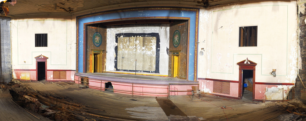 This panorama made from several photos taken in 2014  shows the Colonial Theater in Augusta. The theater, on Water Street in downtown Augusta, is being renovated by a nonprofit group.