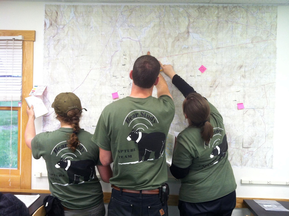 Unity College Bear Study team members review data points on a map in 2013.