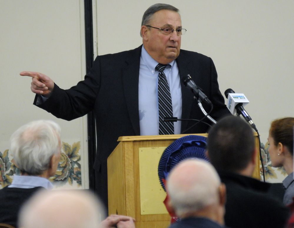 Gov. Paul LePage spoke to farmers and others Tuesday during a speech at the Maine Agricultural Trades Show in Augusta.