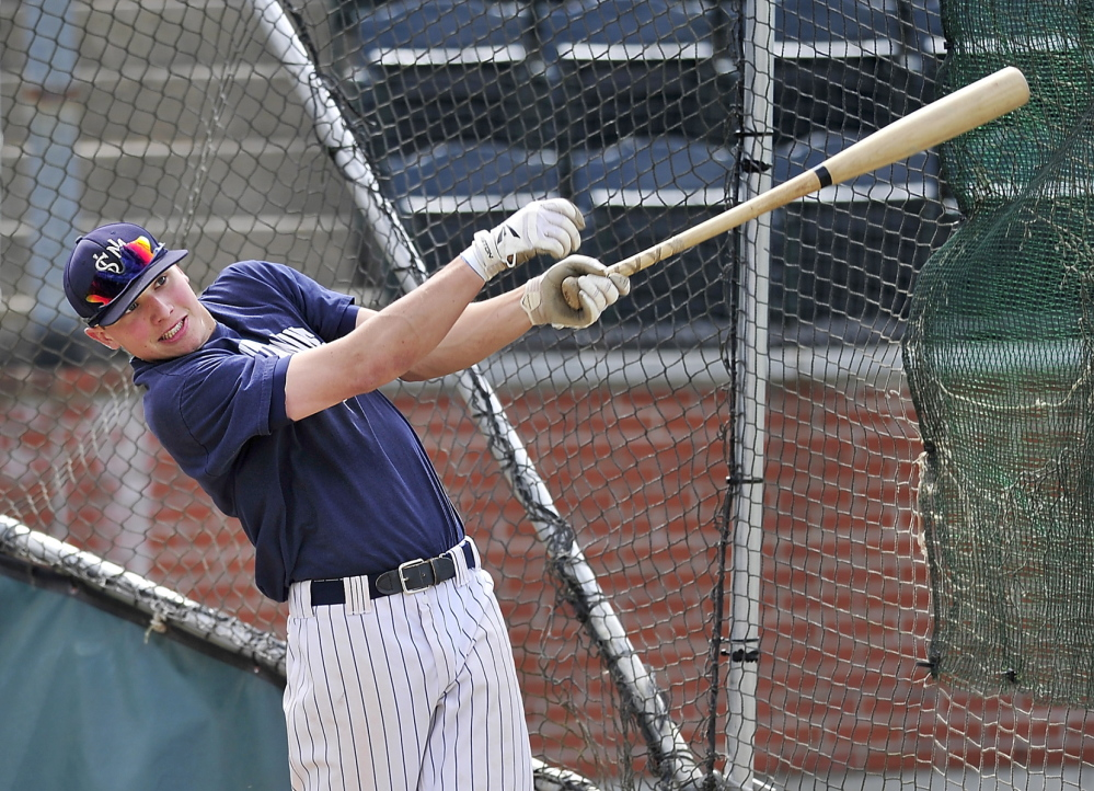 In this May 20, 2014 photo, USM's Sam Dexter takes batting practice in Gorham before heading to the the NCAA Division III tournament in Appleton, Wisconsin.