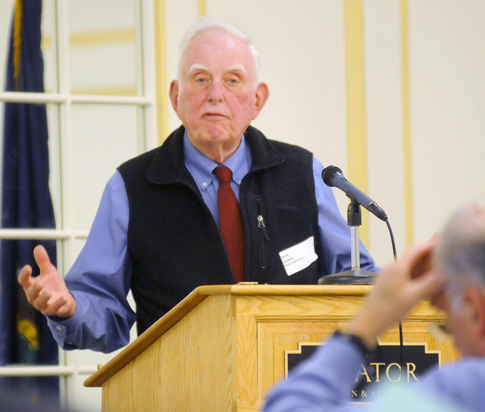 Jack Sutton, of the Maine Rail Group, addresses participants at a rail summit Tuesday in Augusta.