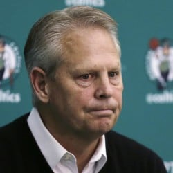 Boston Celtics President of Basketball Operations Danny Ainge pauses while answering a reporter's question at the basketball team's training facility in Waltham, Massachusetts.  Ainge became a marvel among his fellow league executives in 2007 when he pulled together the mega deal that would become Boston's Big Three and subsequent NBA championship. With eight picks to play with entering Thursday, June 23 draft, Ainge again finds himself in a unique spotlight, and bargaining position, as the Celtics look to use the draft to transform into a player again in the Eastern Conference.