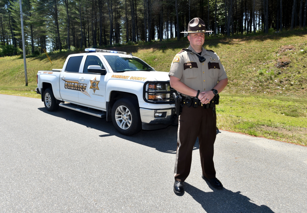 Somerset County Sheriff's Deputy Brian Crater, on Wednesday at the Somerset County Sheriff's Office in East Madison, patrols the northern two-thirds of the county and is stationed in Jackman. He occupies a new position that started July 1 and is being paid for by the state because it's in the unorganized territory.