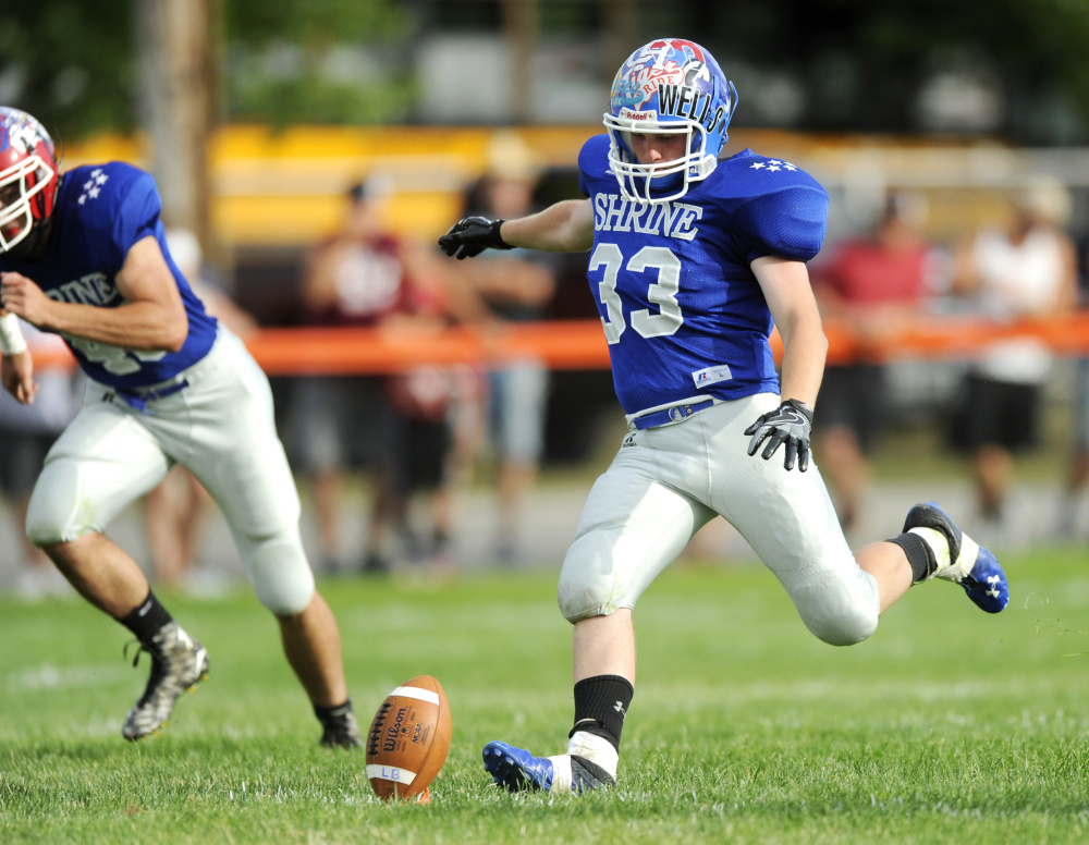 West kicker Roderick Maynard, of Sacopee Valley, kicks off to start the second half of the annual Maine Shrine Lobster Bowl on Saturday in Biddeford.