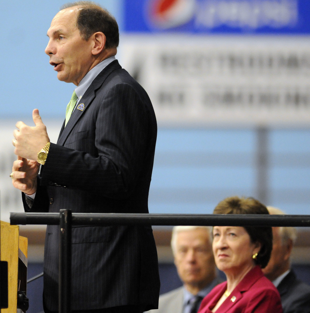 U.S. Veterans Affairs Secretary Robert McDonald addresses the Maine Military & Community Network conference Thursday in Augusta. At right are Sen. Susan Collins, R-Maine, and former U.S. Rep. Mike Michaud, D-2nd District, who works in the federal Department of Labor overseeing veterans' employment and training.