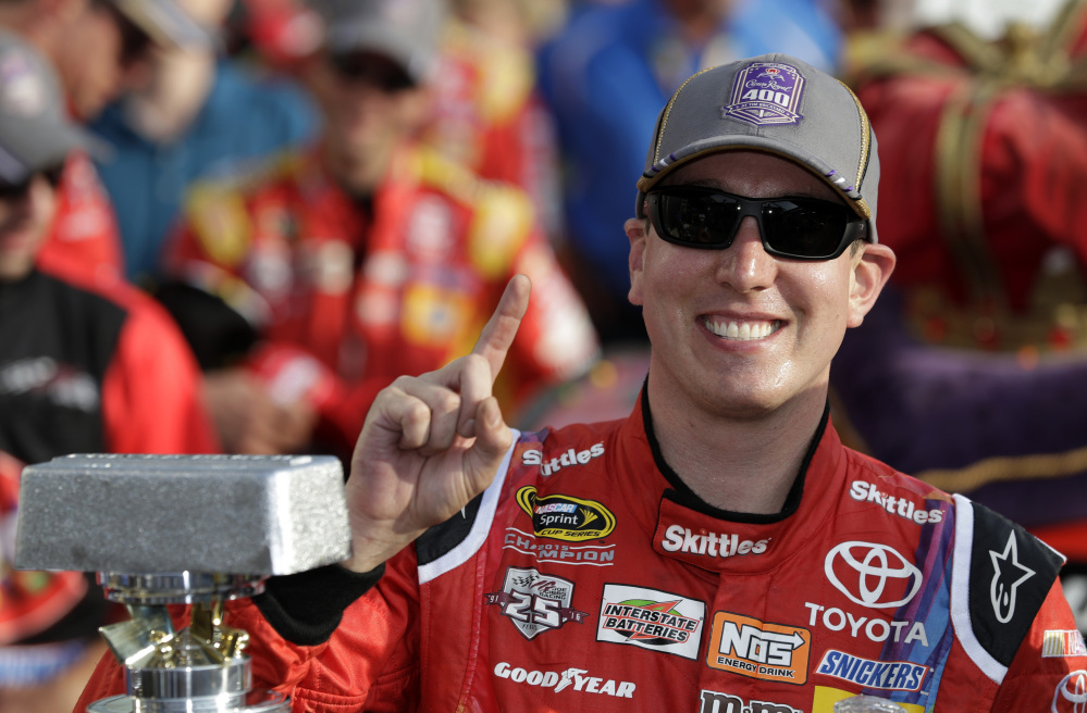Kyle Busch celebrates after winning the Brickyard 400 on Sunday at Indianapolis Motor Speedway in Indianapolis.
