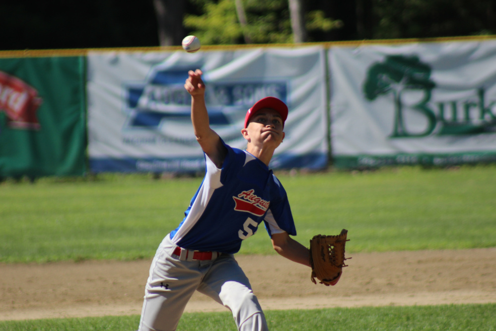 Augusta 13's pitcher Logan Dupont delivers a pitch during a New England regional pool play game against Pittsfield, Massachusetts, in Rochester, New Hampshire on Monday morning. Augusta fell, 6-1.