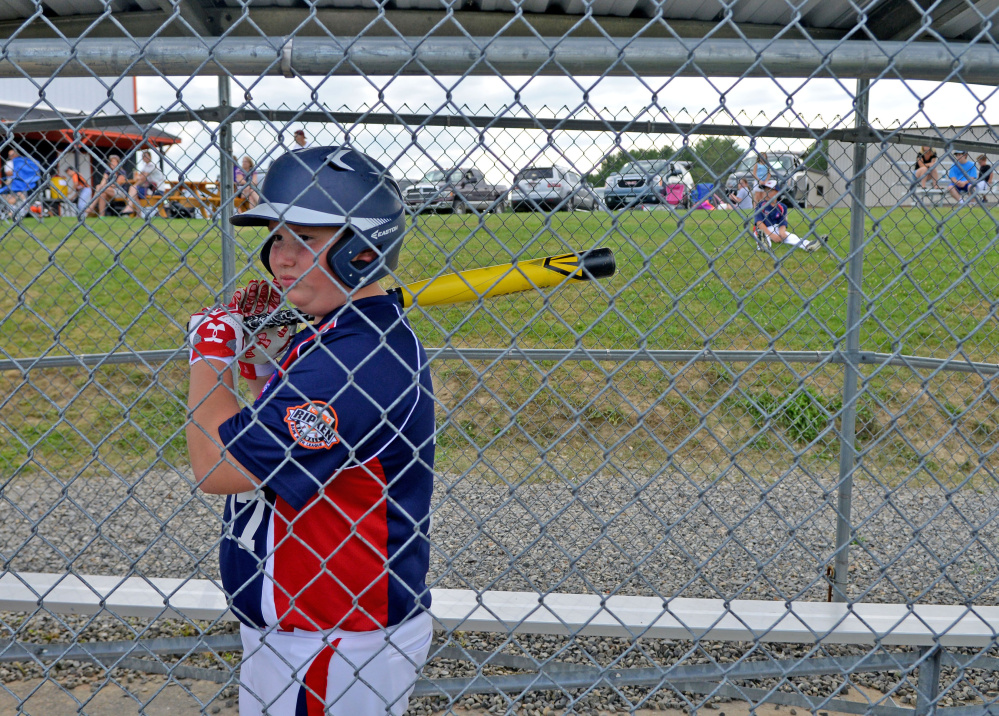 Connor Johnson, 11, of Freetown, Massachusetts warms for his at-bat during the Cal Ripken U12 home run derby at Carl Wright Complex in Skowhegan on Friday.