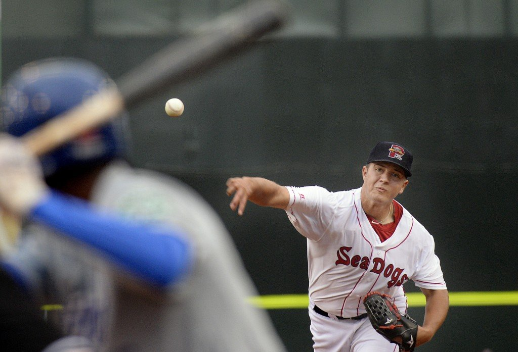 Winning pitcher Kevin McAvoy pitches against the Hartford Yard Goats in the first game Friday at Hadlock Field. Shawn Patrick Ouellette/Staff Photographer