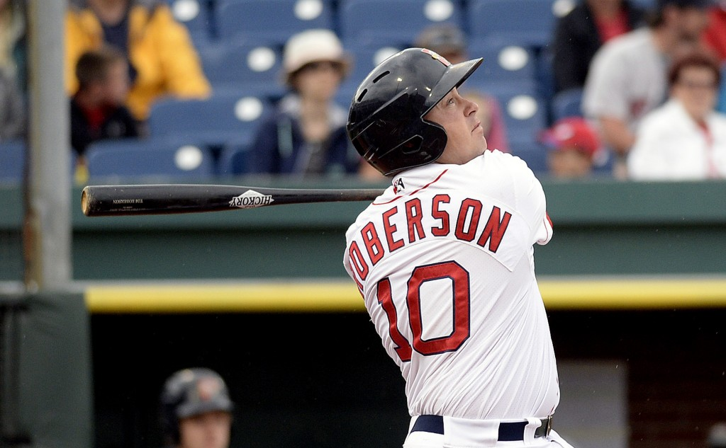 Portland's Tim Roberson watches his third-inning home run against the Hartford Yard Goats in the first game of Friday's doubleheader. Shawn Patrick Ouellette/Staff Photographer