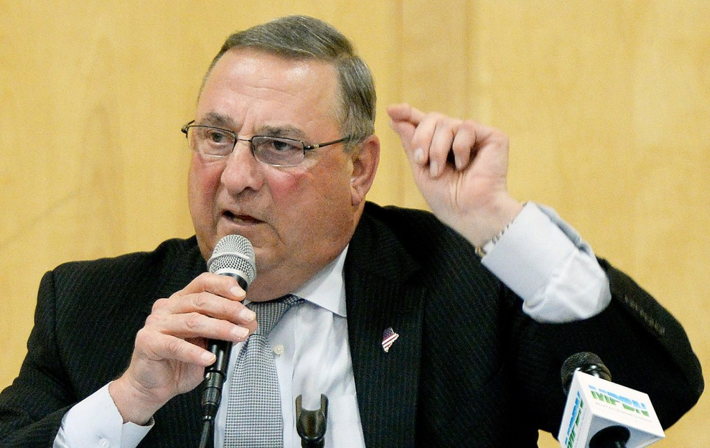 Gov. Paul LePage speaks during a town hall meeting in Boothbay Harbor in July.