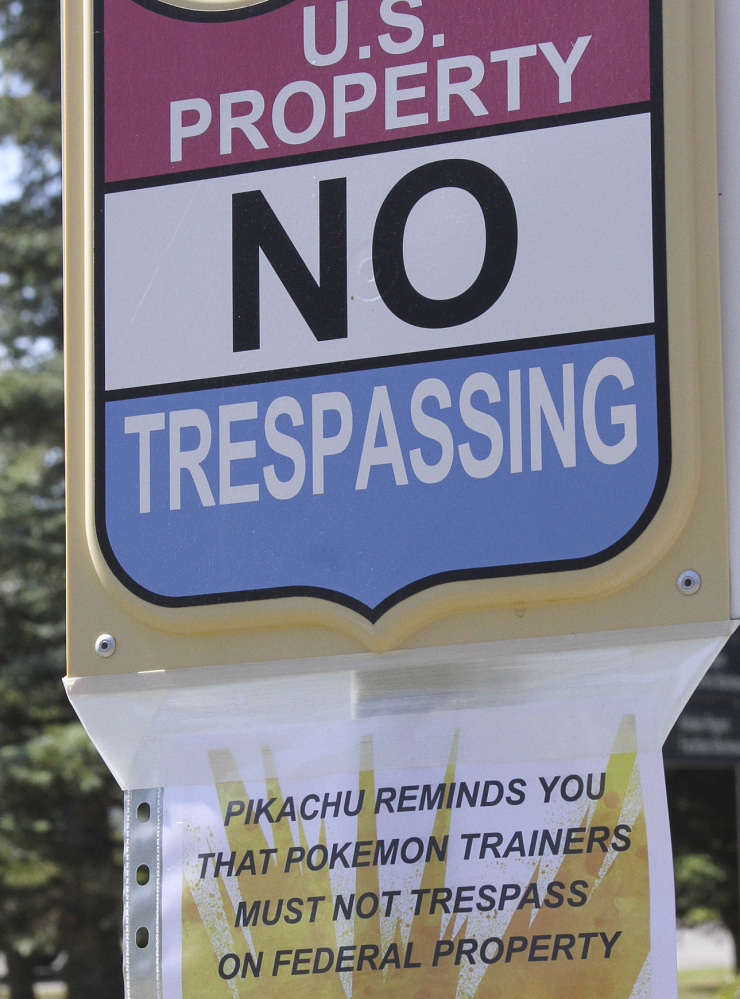 A sign at the National Weather Service in Anchorage, Alaska, informs Pokemon players that it's illegal to trespass on federal property.